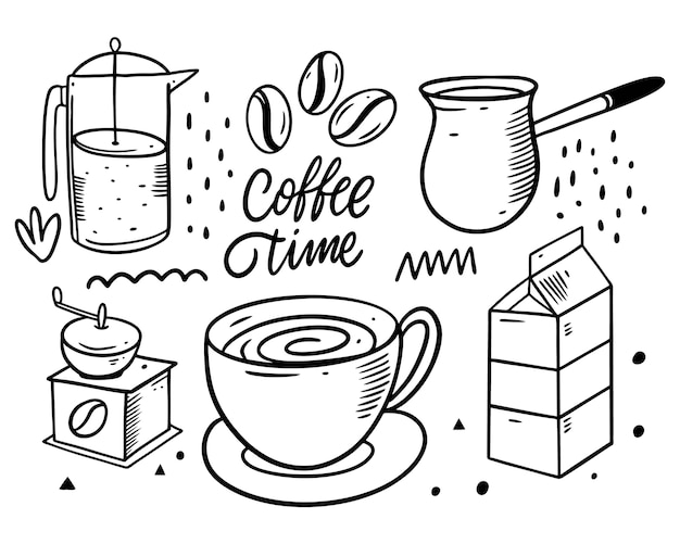 Coffee doodles elements. up, milk, coffee grinder and coffee beans.