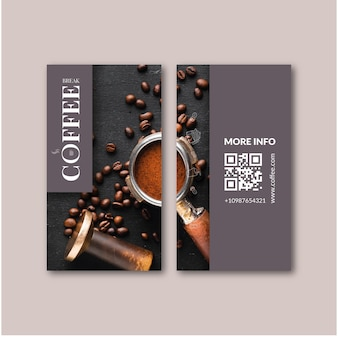 Coffee double sided business card Premium Vector