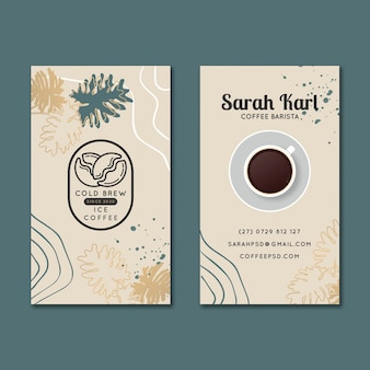 커피 양면 세로 명함