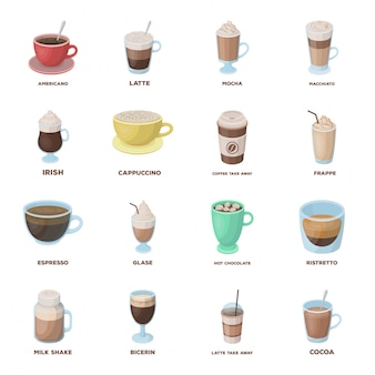 Coffee of drink  cartoon set icon. isolated cartoon set cafe and restaurant.   coffee of drink  .
