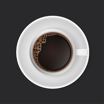 コーヒーを飲む。暗い背景にコーヒー1杯。現代美術。
