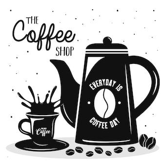 ティーポットとカップのイラストデザインとコーヒー飲料のレタリング
