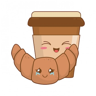 Coffee drink with croissant kawaii characters