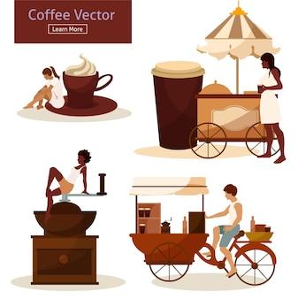 Coffee drinking people flat style set