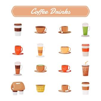 Кофейные напитки плоские цветные объекты установлены. капучино в керамической кружке. латте вынимают из кофейни. эспрессо и американо. кофеин напиток 2d изолированных мультяшный иллюстрации на белом фоне