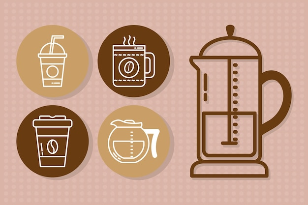 Coffee drinks icon set on pink background