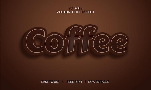 Кофе редактируемый 3d текстовый эффект премиум векторы