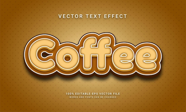 Coffee editable text effect with brown collor