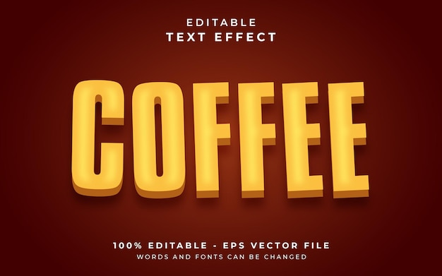 コーヒーの編集可能なテキスト効果 Premiumベクター