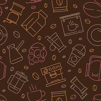コーヒー要素線形シームレスパターン