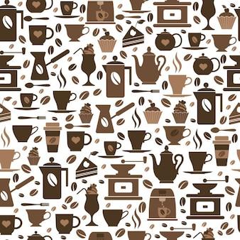 コーヒーアイコンのカップブラウン質感を持つコーヒーのシームレスなパターン