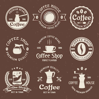 Coffee emblem set in color