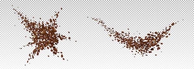 Esplosione di caffè, polvere di fagioli macinati realistica scoppiata con schizzi di particelle marroni, granuli volanti, elementi di design per bevande o caffè isolati, illustrazione vettoriale 3d