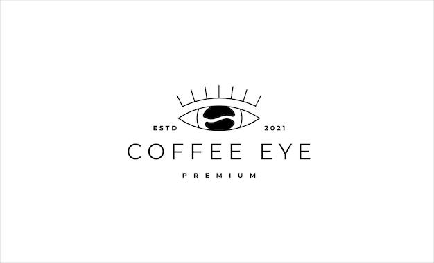 コーヒーアイモノラインロゴデザインベクトルイラスト