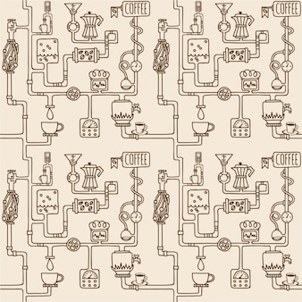 Coffee factory seamless pattern