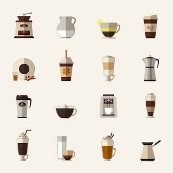 Набор иконок плоский кофе. чашка с туркой, кофемолка и чайник, напиток и латте, еда на вынос и мокко