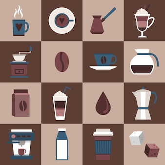 Coffee flat icons set with cup mug hot dring pot turk pouch jar isolated vector illustration