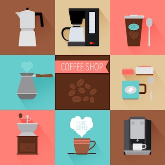 Coffee flat modern icons. coffee machine and cup of coffee   illustration