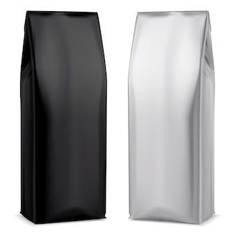 コーヒーホイルパッケージ。黒と白のバッグ。ポーチのデザインテンプレートです。灰色のお茶の袋。ドライドリンクのシルバーパケット。スナックまたはビスケット製品の容器