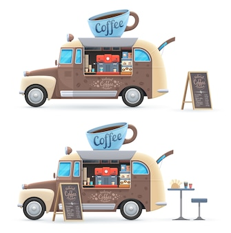 Coffee food truck isolated vector retro van with huge cup on roof, coffee machine, chalkboard menu and table with chair