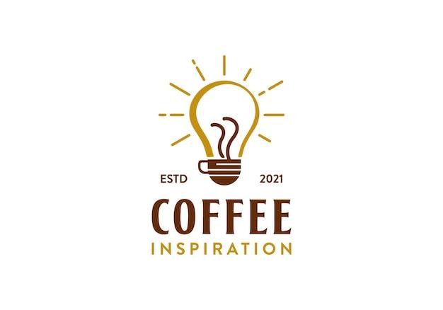革新またはインスピレーションのためのコーヒー電球のロゴデザインテンプレートが付いているコーヒーガラス