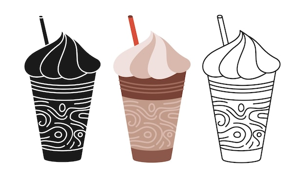 Coffee frappe cup cartoon set line icon black glyph trendy style craft doodle flat cups to go drinks with foam branding and cafe label design disposable coffee paper cup icon