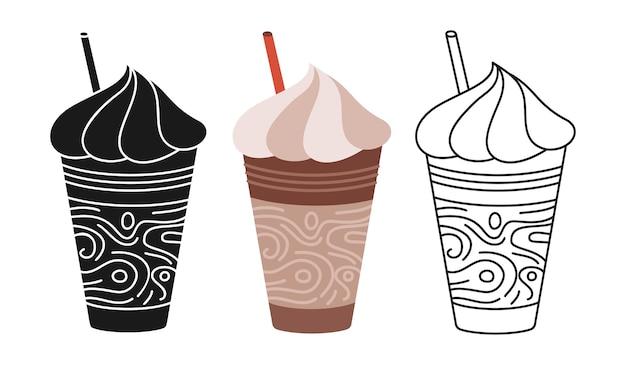 커피 프라페 컵 만화 세트 라인 아이콘 블랙 글리프 유행 스타일 공예 낙서 플랫 컵 거품 브랜딩 및 카페 라벨 디자인 일회용 커피 종이 컵 아이콘으로 음료 이동