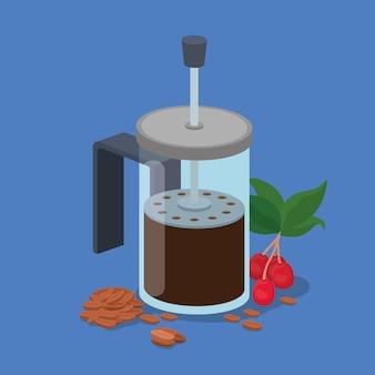 Ягоды и листья кофейных зерен французской прессы дизайн напитка кофеина темы завтрака и напитка.