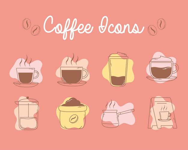 Кофейные чашки для французского пресса и значки на доске линии и заливка иллюстрации