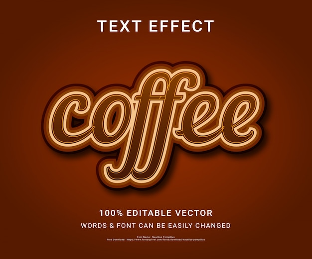 Coffee full editable text effect