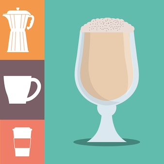 Coffee glass cup foam cold poster