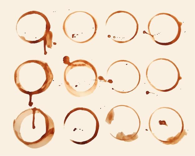 Set di macchie di texture vetro caffè di dodici