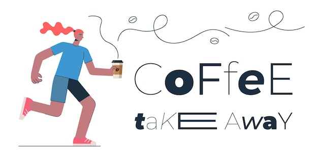 Coffee to go banner design concept for shop cafe restaurant or bar woman with americano or