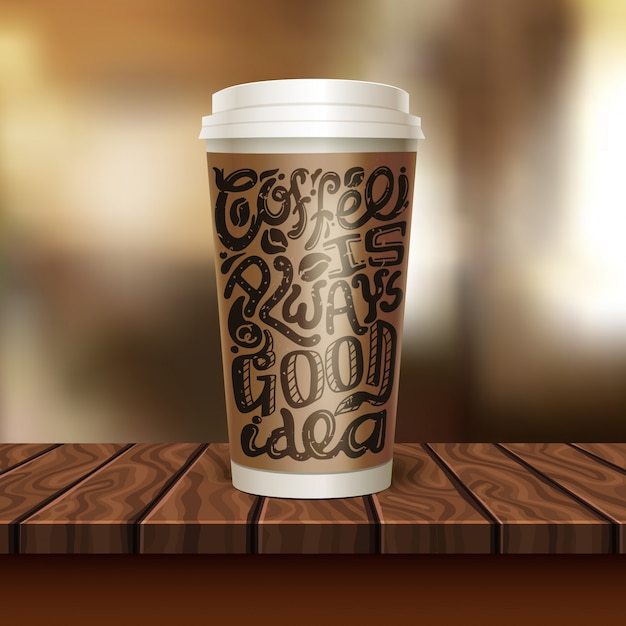 Coffee to go cup composition