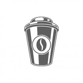 Coffee to go cup with bean vector illustration.