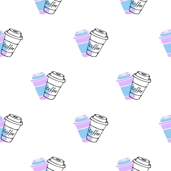 Coffee to go. disposable cup seamless pattern in doodle style.