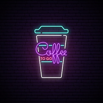 Coffee to go neon sign.