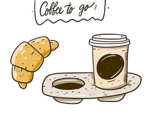 Coffee to go in portable packaging and croissant. hand draw  cartoon style. isolated on white background.