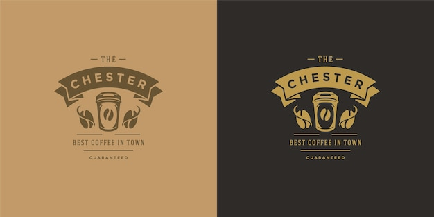 Coffee to go shop logo template illustration set