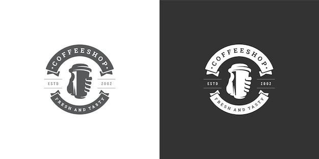 Coffee to go shop logo template illustration