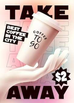 Coffee to go or take away banner or poster or flyer design template Premium Vector