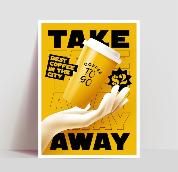 Coffee to go or take away poster or banner or flyer or menu cover design template