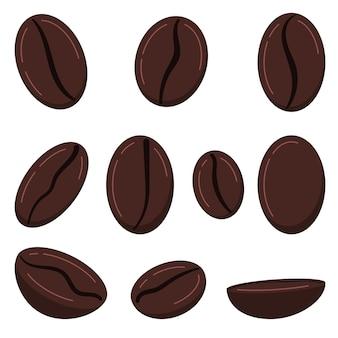 커피 곡물 아이콘 세트 흰색 배경에 고립입니다. 구운 갈색 신선한 커피 콩 - 아라비카, 로부스타 품종. 전면, 측면, 평면도입니다. 벡터 평면 디자인 만화 스타일 음식과 음료 그림입니다.