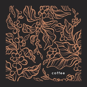 Coffee graphic pattern. nature tree, art line branch, leaves, bean. vintage sketch foliage