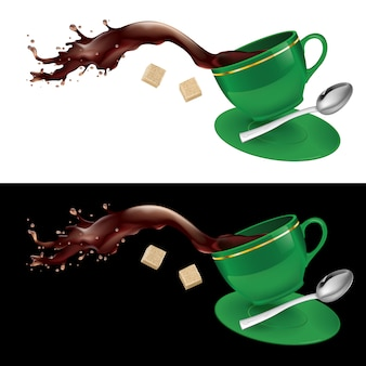 Coffee in green cup
