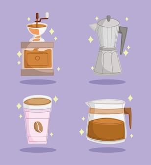 커피 그라인더와 주전자