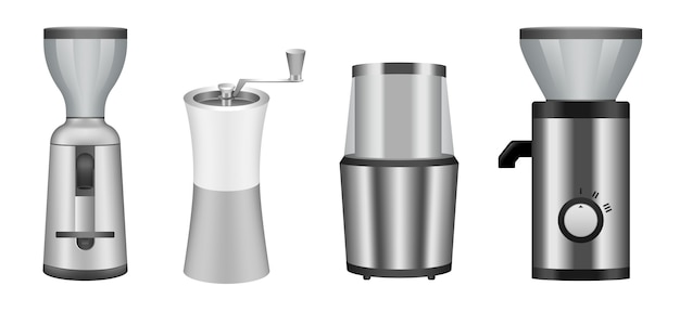Coffee grinder icons set