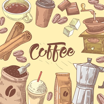 Coffee hand drawn background with coffee cup