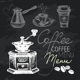 コーヒー手描き黒板デザインセット。黒チョークの質感