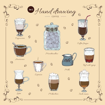 Coffee hand drawn colored set